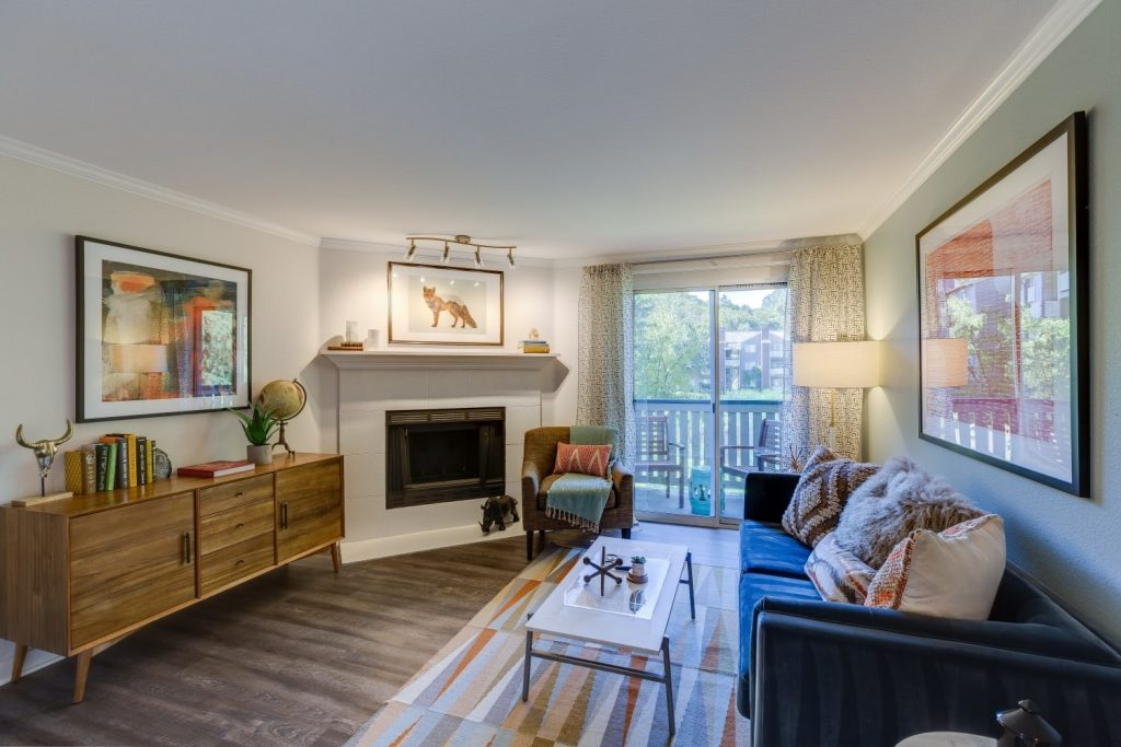 The Preserve at Forbes Creek in Kirkland, Washington, offers living rooms with fireplaces.