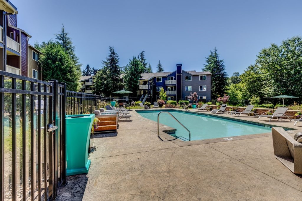 Gate to the pool at The Preserve at Forbes Creek in Kirkland, Washington
