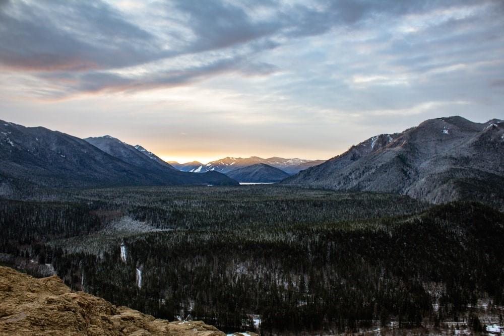 mountain ranges during sunset