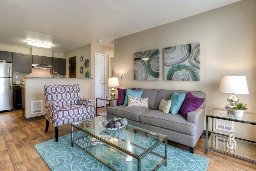 Living room at Pebble Cove Apartments in Renton, Washington